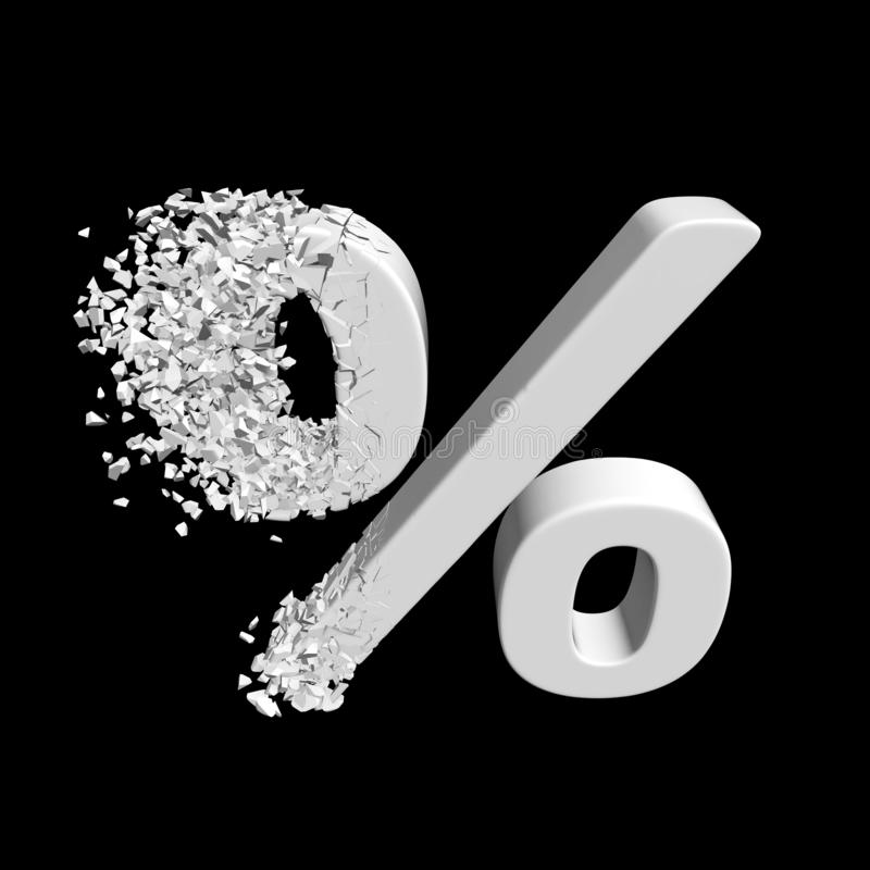 Łamający procentu rabata znak 3d royalty ilustracja