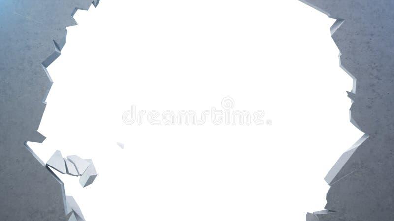 Łamana betonowa ściana w małych kawałki Krakingowa ziemia, abstrakcjonistyczny tło z tomowymi lekkimi promieniami w dziurze Wybuc ilustracja wektor