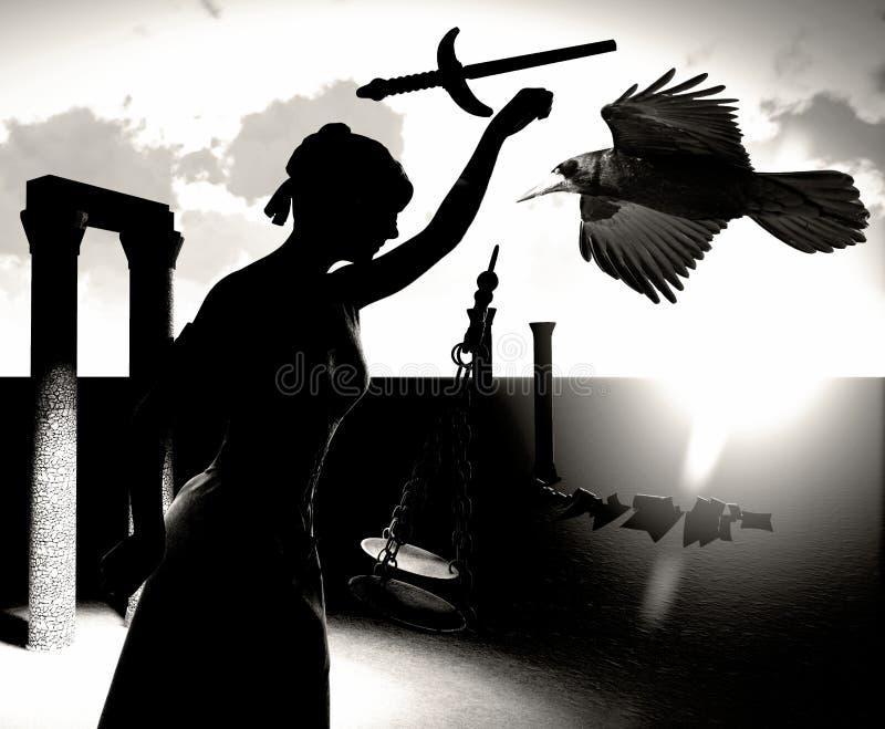 Łamana dama sprawiedliwości 3d rendering obrazy stock