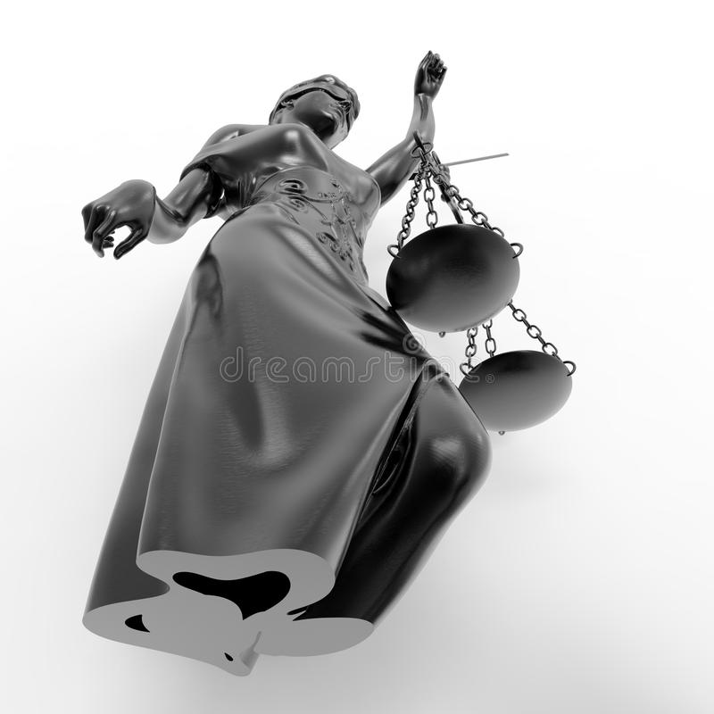 Łamana dama sprawiedliwości 3d rendering obraz royalty free