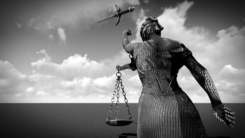 Łamana dama sprawiedliwości 3d rendering fotografia stock