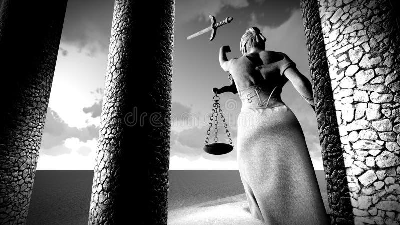 Łamana dama sprawiedliwości 3d rendering obrazy royalty free