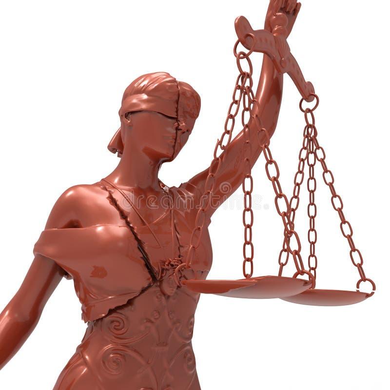 Łamana dama sprawiedliwości 3d rendering ilustracja wektor