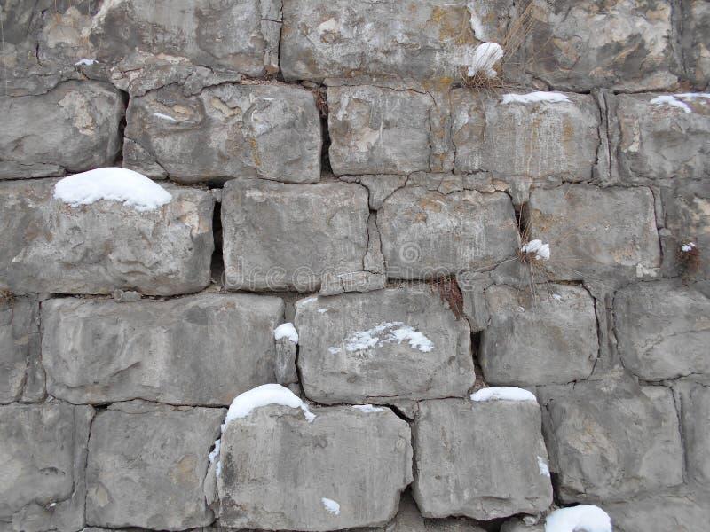 Łamana kamienna ściana w śniegu cement w zimie w zimnie zdjęcie royalty free