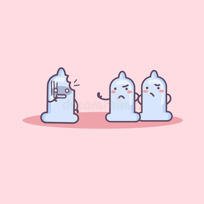Łamana kondom kreskówka ilustracji