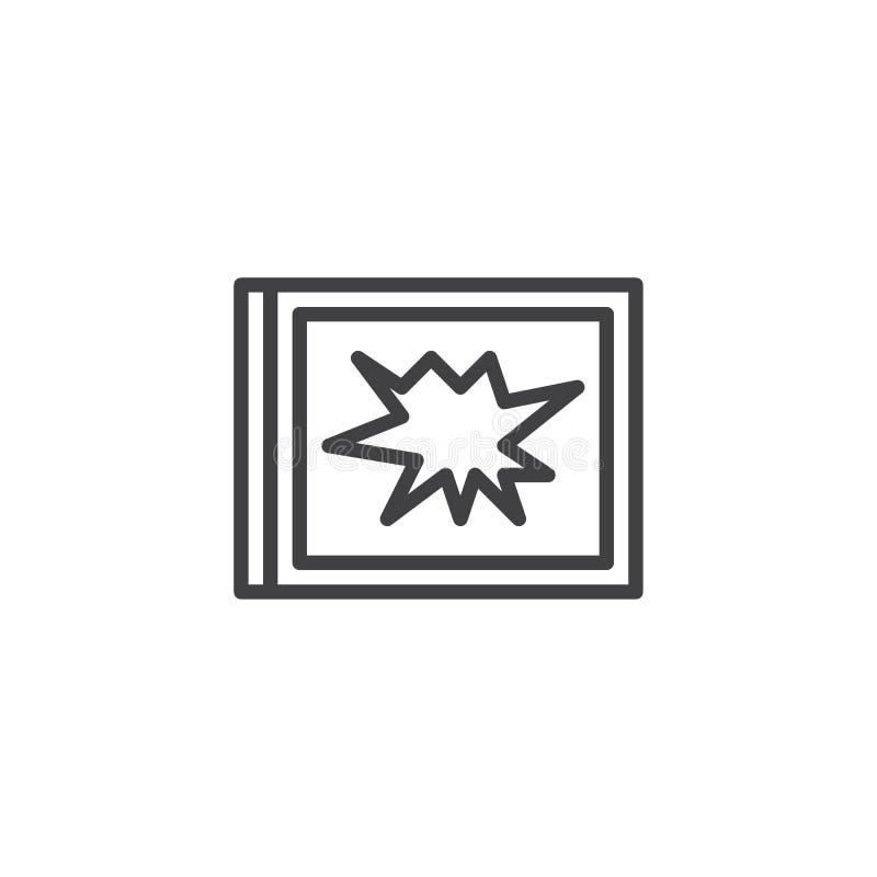 Łamana nadokienna kontur ikona ilustracji