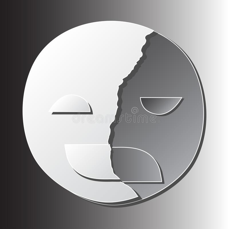Łamana szczęśliwa maska na smutnego ważnego depressive nieładu twarzy papieru tnącej sztuce royalty ilustracja