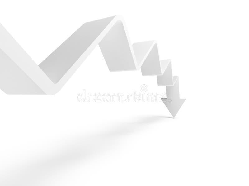 Łamana trend linia z strzała na końcówce iść w dół ilustracji