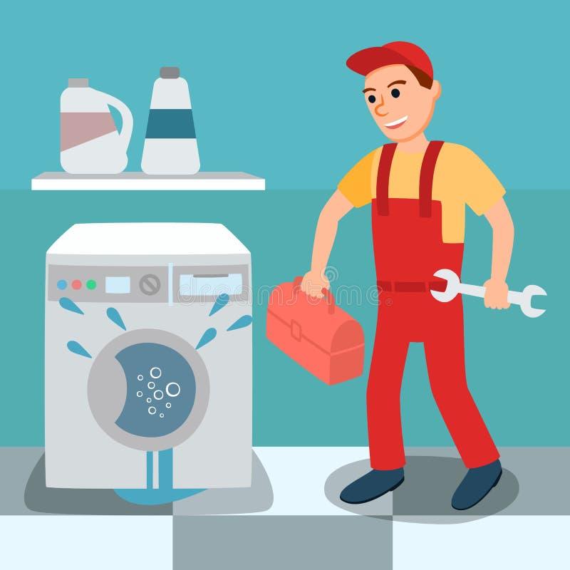 Łamana wyciek pralka, hydraulik i ilustracja wektor
