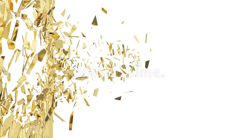 Łamana złoto ściana odizolowywająca na białym tle ilustracja 3 d royalty ilustracja