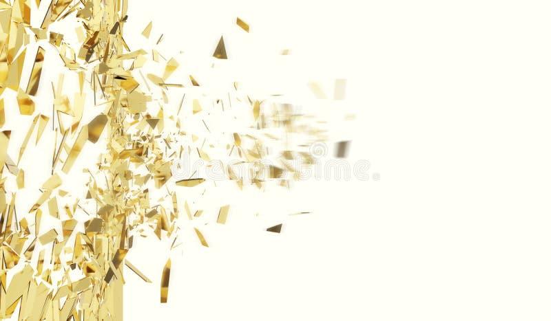 Łamana złoto ściana odizolowywająca na białym tle ilustracja 3 d ilustracji