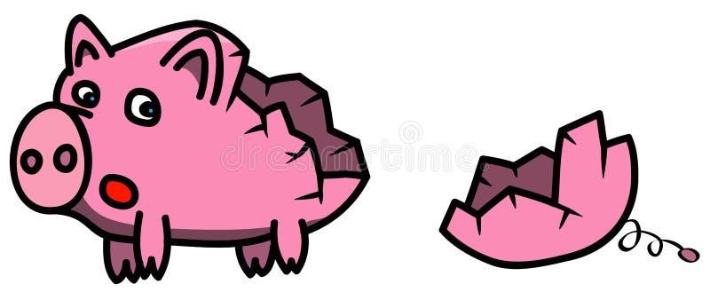 Łamane menchie opróżniają piggybank w kreskówka stylu, okaleczającym patrzejący chybianie kawałek ilustracja wektor