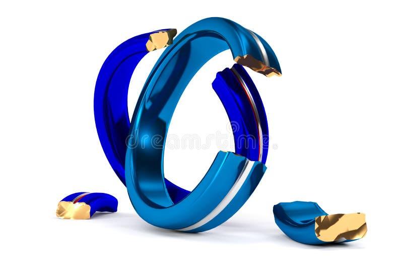 Łamane obrączki ślubne symbolizują Brexit royalty ilustracja