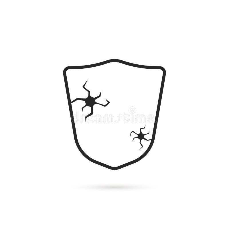 Łamanego czerni cienka kreskowa osłona z pęknięciem ilustracja wektor