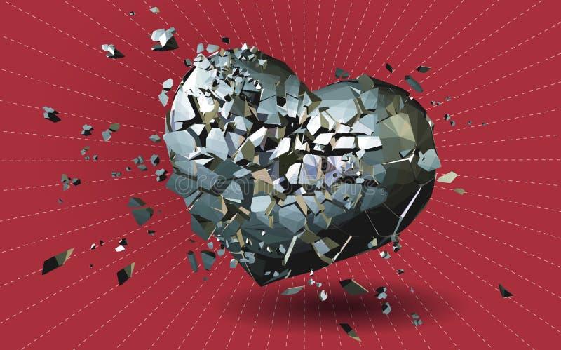Łamanego metalu poligonalny serce na czerwieni BG royalty ilustracja