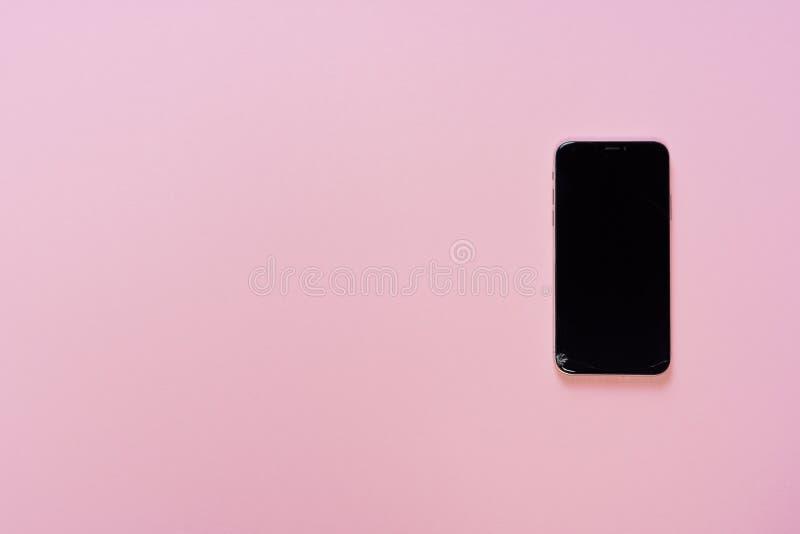 Łamanego telefonu pokazu szkła pęknięcia Mały mieszkanie Lay zdjęcia royalty free