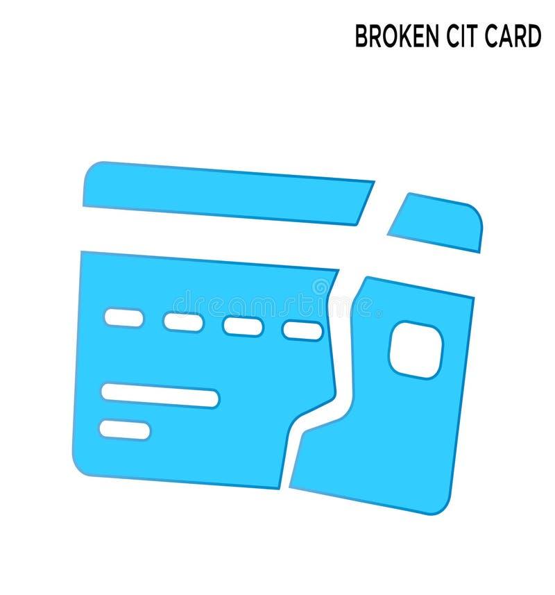 Łamanej cit karty ikony symbolu editable projekt royalty ilustracja