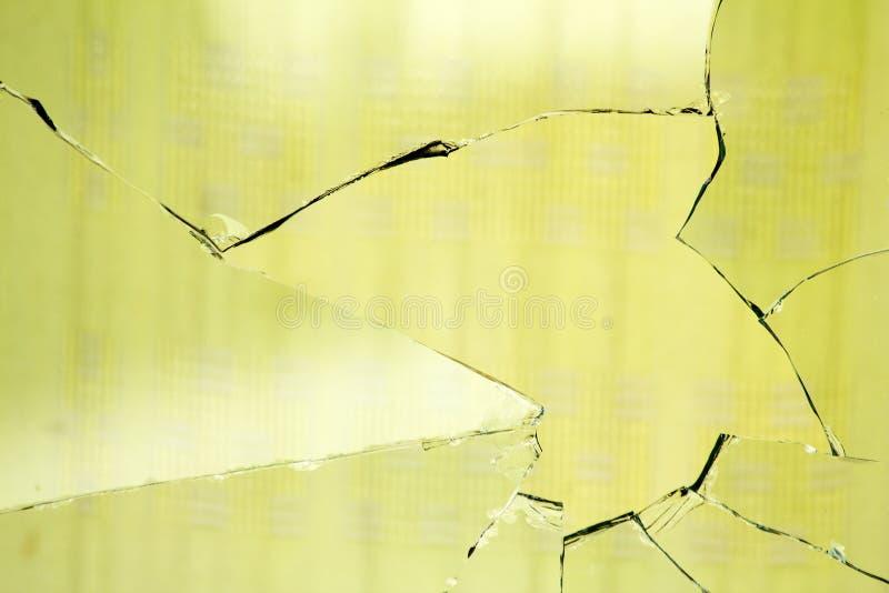 łamanej zasłony szklany dziury okno fotografia stock