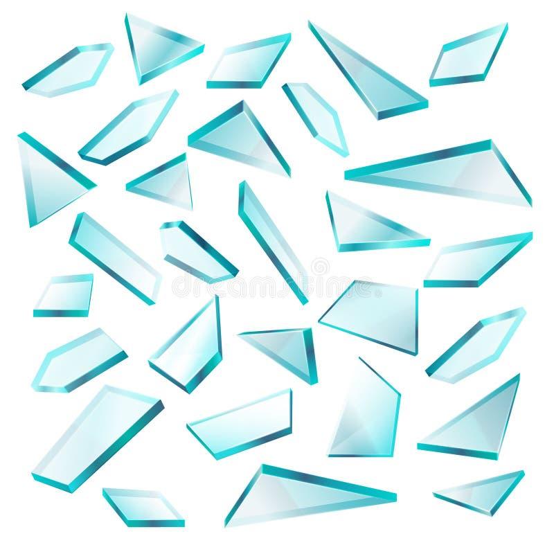Łamani szklani czerepy na białym wektoru secie ilustracja wektor