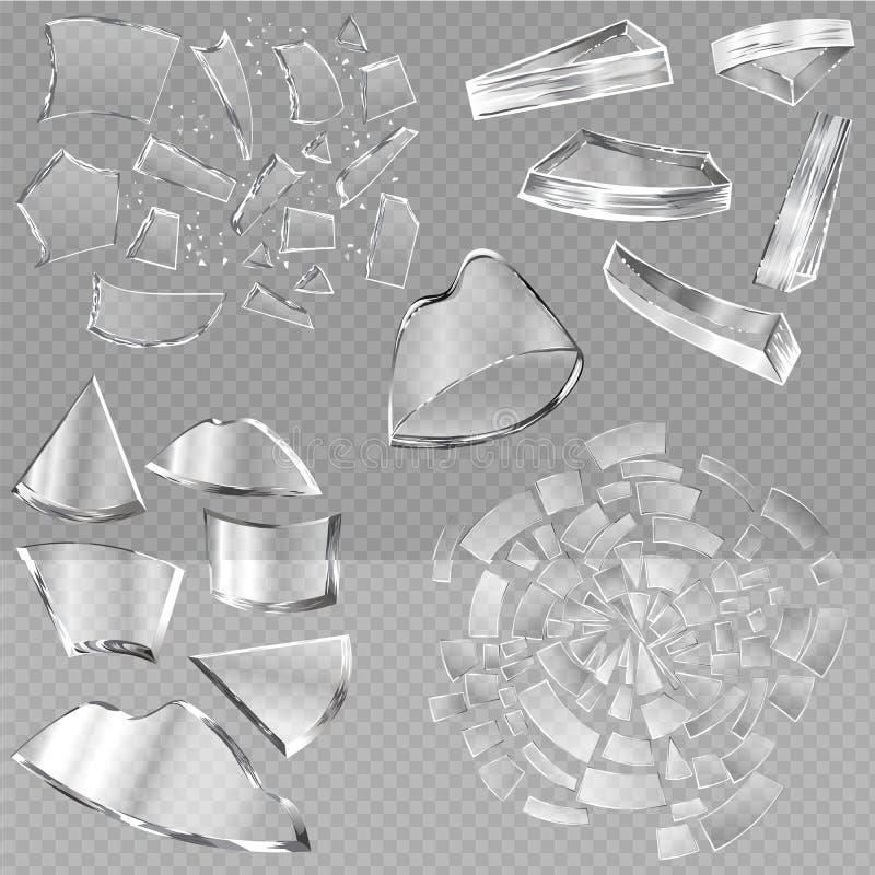 Łamani szklani wektorowi ostrzy kawałki zniweczony glassware lub druzgocący gruzy łamania lustro nadokienny i realistyczny ilustracji