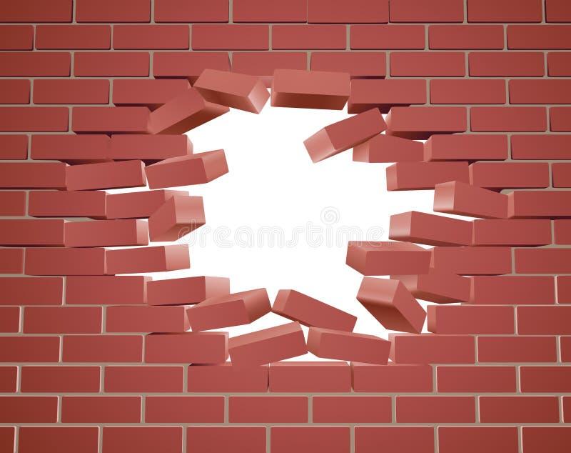 łamania ściana z cegieł ilustracja wektor