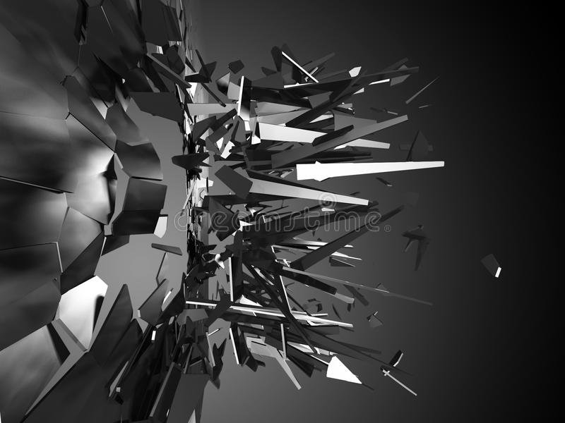 Łamanie i zbita szyba kawałków wybuch Abstrakcjonistyczny backgrou royalty ilustracja