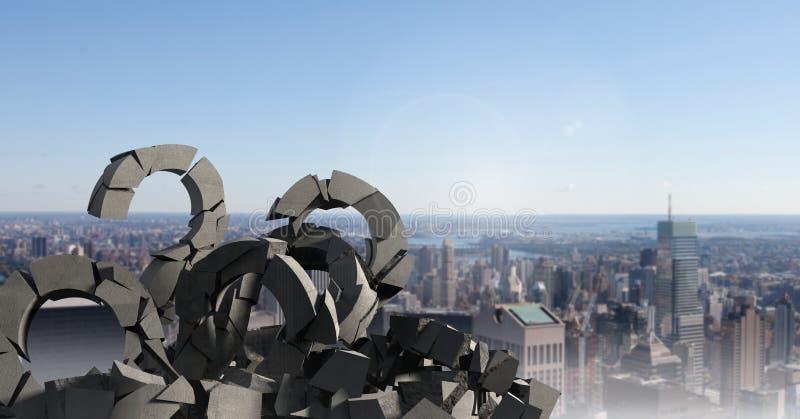 Łamany betonu kamień z pytanie symbolem w pejzażu miejskim ilustracji