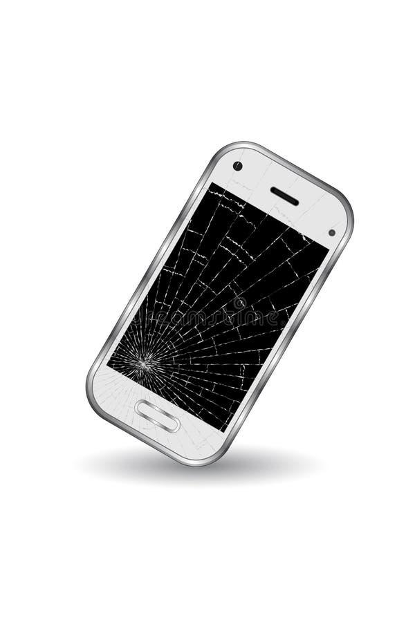 Łamany biały telefon komórkowy nad białym tłem ilustracja wektor