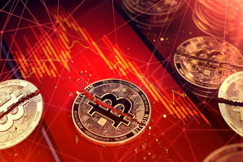 Łamany bitcoin rozłam w dwa kawałkach kłaść na smartphone ekranie z rynek papierów wartościowych diagramem w czerwonym kolorze Zł ilustracja wektor