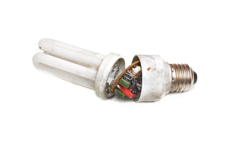 Łamany energooszczędny lightbulb zdjęcia stock