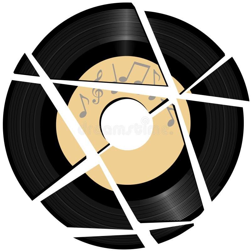 łamany etykietki muzyki rejestru winyl ilustracji