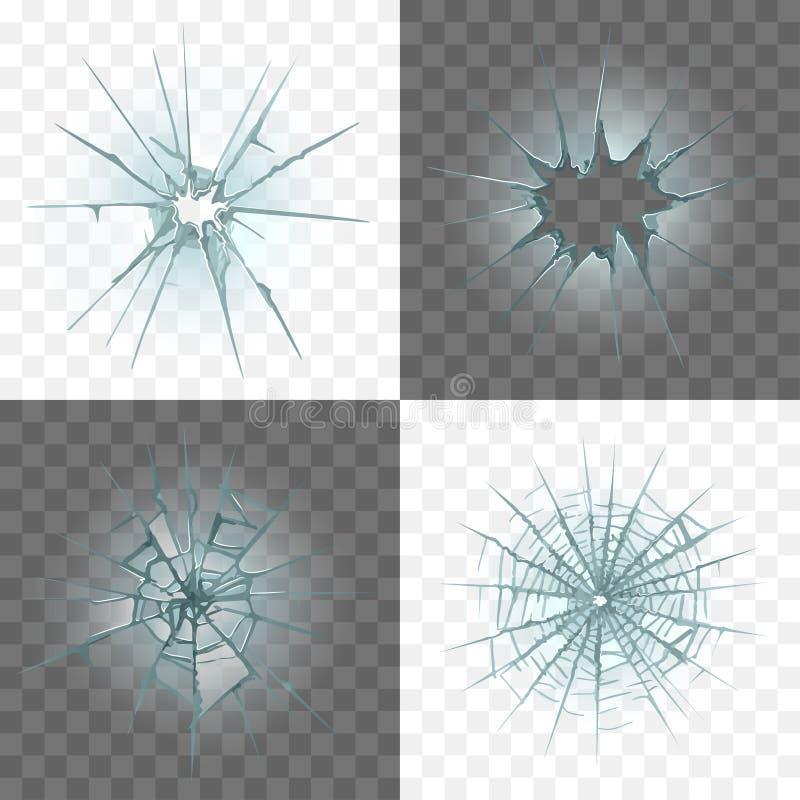 Łamany i uszkadzający szklany wektoru set ilustracji