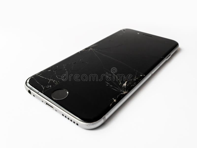 Łamany Jabłczany iPhone 6 z krakingowym ekranem obraz stock