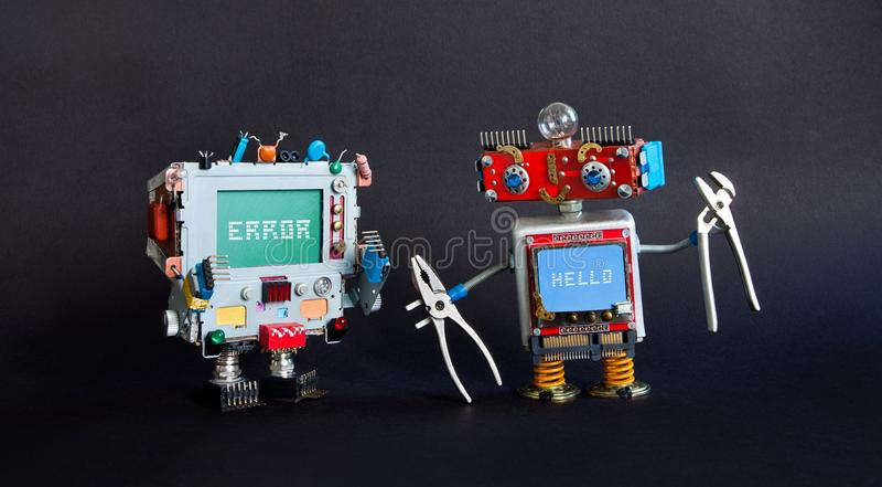 Łamany komputerowy naprawiania pojęcie Robot złotej rączki cążków monitoru naprawa łamający cyborg Systemu błędu wiadomość na błę fotografia stock