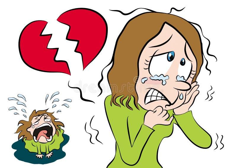 łamany kreskówki dziewczyny serce ilustracja wektor