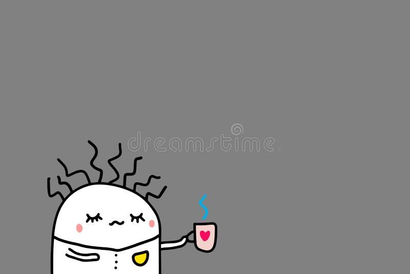 Łamany mężczyzna pije kawę w ranku Popielaty tło, ręka rysująca wektorowa ilustracja w kreskówka stylu royalty ilustracja