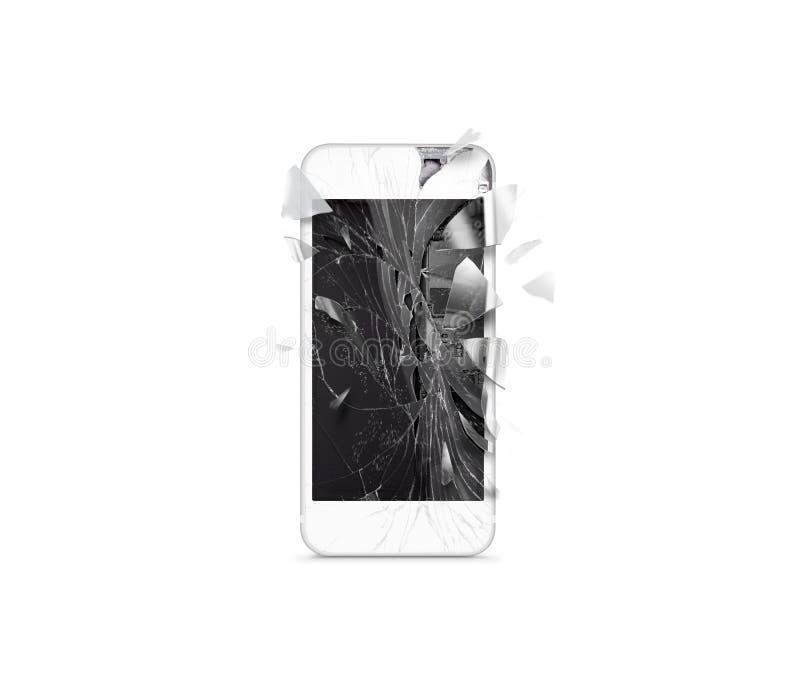 Łamany mobilny telefonu komórkowego ekran, rozrzuceni czerepy, odizolowywający zdjęcie stock