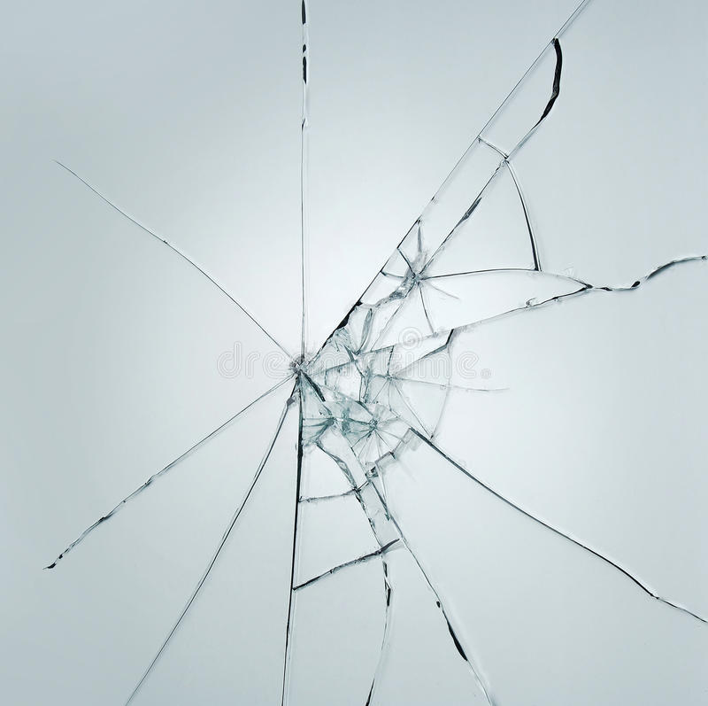 Łamany nadokiennego szkła pęknięcie na białym szarym tle zdjęcia royalty free