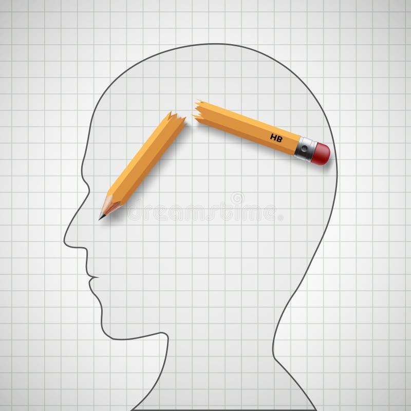 Łamany ołówek w ludzkiej głowie Nerwowy napięcie i migrena ilustracja wektor