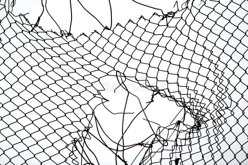 łamany ogrodzenia żelaza drut obraz royalty free