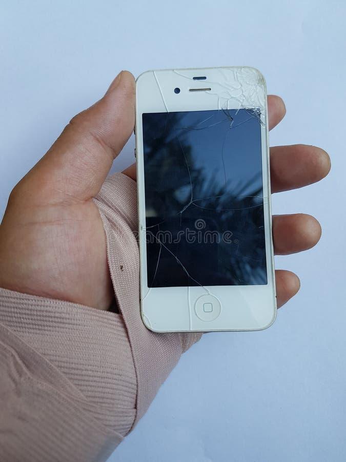 ŁAMANY ręka telefon zdjęcie royalty free