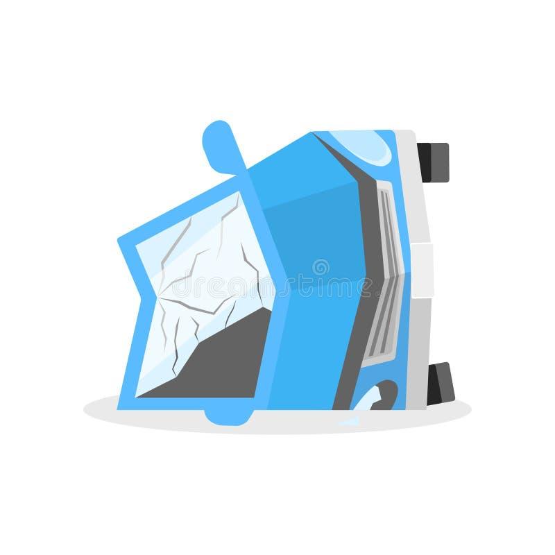 Łamany samochód kłama na swój stronie po wypadku ulicznego Samochód z zmiętym ciałem i łamanym szkłem po trzaska rujnujący royalty ilustracja