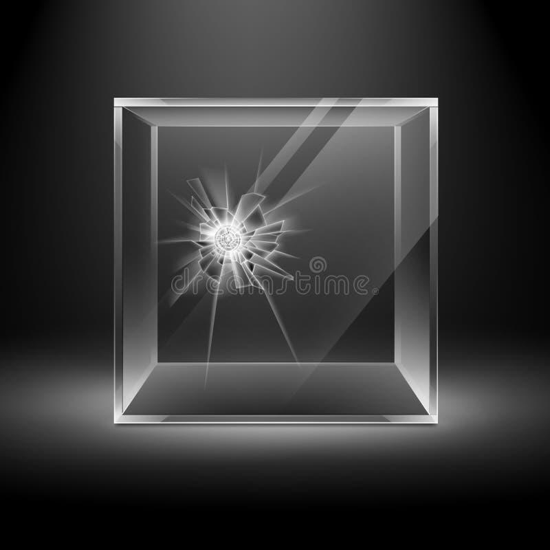 Łamany szkła pudełka sześcian na Czarnym tle ilustracji