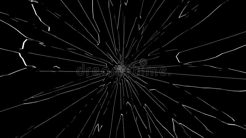 Łamany szkło odizolowywający na czarnym tle fotografia royalty free