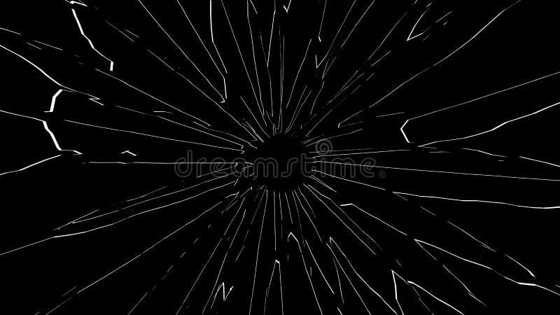 Łamany szkło z dziura po kuli odizolowywającym na czarnym tle zdjęcie stock