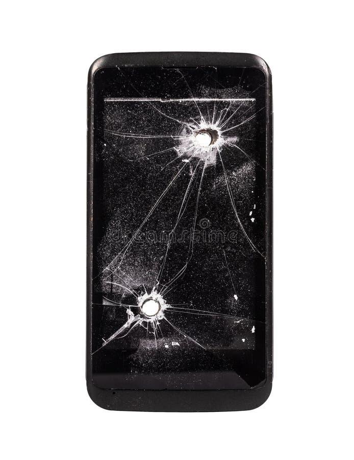 łamany telefon komórkowy Mądrze telefon z dziura po kuli Musztrująca dziura Łamany telefon komórkowy odizolowywający na białym tl zdjęcie royalty free