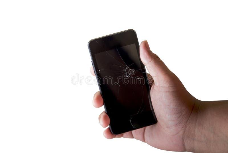 Łamany telefon komórkowy w ręce na białym tle zdjęcie royalty free