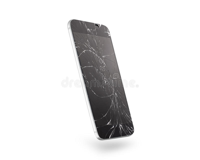 Łamany telefonu komórkowego ekran, boczny widok, odizolowywający, ścinek ścieżka fotografia royalty free