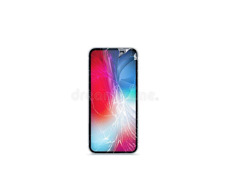 Łamany telefonu komórkowego ekran, frontowi gruzy barwiący obrazy stock
