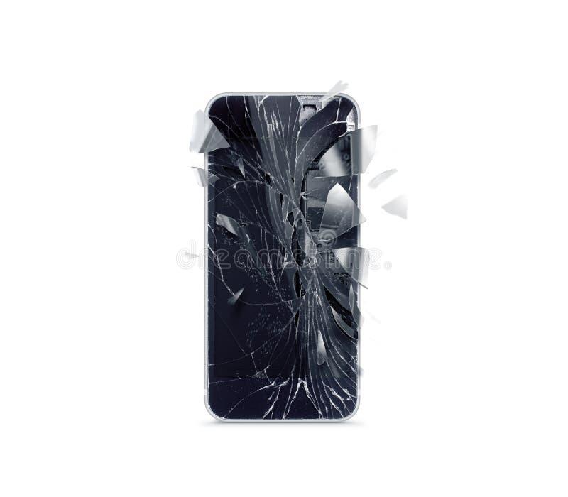 Łamany telefonu komórkowego ekran, rozrzuceni czerepy royalty ilustracja